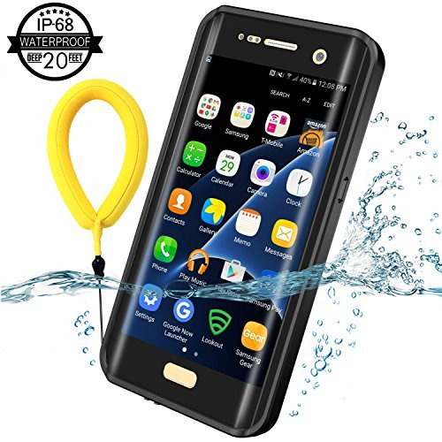 Temdan Samsung Galaxy S7 Edge Waterproof Case with Kickstand and Floating Strap for S7 Edge