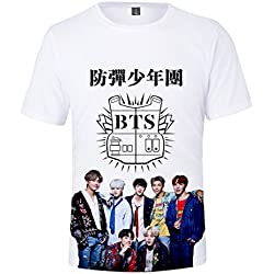 EmilyLe Unisex T-Shirt Bangtan Boys BTS Jimin J-Hope V Jung Kook Suga Camiseta Impresión 3D Fans Cool KPOP Hip Pop para Hombres Mujer Adolescente 110cm,Album Blanco
