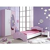 Kinderzimmer AVA 3-teilig Rosa weiß Mädchen Bett Nachtkommode Kleiderschrank Kinderbett Nako Nachtschrank Schrank Jugendzimmer