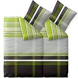 CelinaTex Touchme Corinna, Biber Bettwäsche 135 x 200 cm 4-teilig grün grau anthrazit weiß, Flauschiger Bettbezug, Streifen 0004101