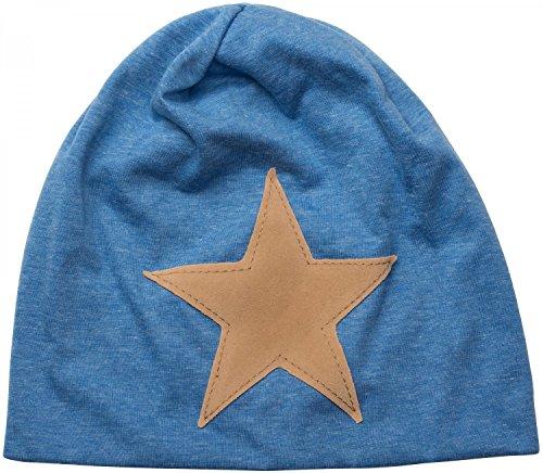 styleBREAKER bonnet beanie, étoile en cuir synthétique cousue, bonnet beanie long, unisexe 04024071 Bleu chiné
