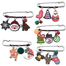 TENDYCOCO Broche de Navidad Broche Lindo Ropa broches para Regalo de Navidad para Mujeres niñas niños Adultos 5 Piezas