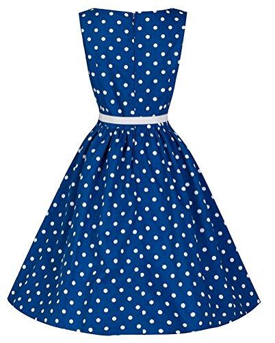 Brinny Frauen Elegante Weinlese Rockabilly Kleid Vintage 50s Polk Dots mit Gürtel Ärmelloses Kleid Blau