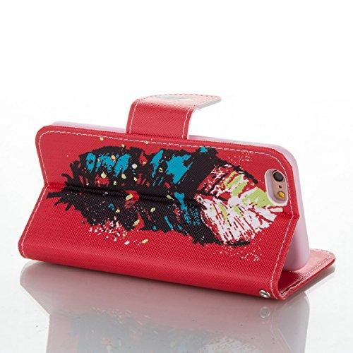 Handyhülle für Apple iPhone 6/6s 4.7 Zoll, Ekakashop Ledertasche Schutzhülle im Bookstyle für iPhone 6s, Rote Feder Muster Leder Tasche Handytasche Zubehör Portemonnaie mit Kartensteckplätze für iPhon Rote Feder