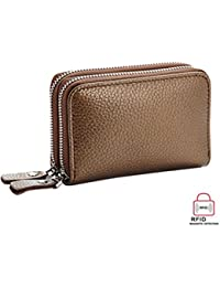 Yajama Credit Card Wallet Genuine Leather Rfid Blocking Double Zipper Card Case Holder For Women & Men (Gold)...