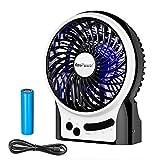 Koopower Mini Ventilateur, Portable Ventilateur USB de table avec Batterie Rechargeable + 3 Vitesse Réglable - Faible/Moyen/Eleve, Puissant et Silencieux, pour le bureau, maison, dortoir, bibliothèque, camping, voyages, gym, poussette, etc (Noir)