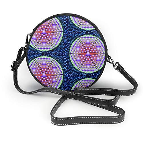 Ameok-Design Electric Blue Times Square Ball Schultertasche Crossbody Handtasche Multifunktions PU Leder für Shopping, Reisen rund