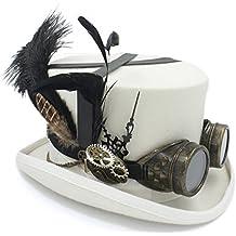 449fc5ca59f54 JIALUN-sombrero Sombrero de Copa de Lana Fedora Steampunk Bricolaje para  Mujeres Hombres Sombrero sombreador