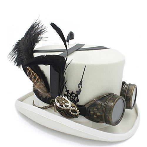rz heißen Hut mit Brille Steampunk Zylinder viktorianischen Hochzeit Tophat Brennen Cosplay Nussknacker Festival Hut (Farbe : Weiß, Größe : 57cm) ()