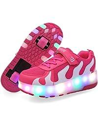 ❤❤❤ Unisex Recargable Led Luz Automática de Skate Zapatillas con Ruedas Zapatos Patines Deportes Zapatos para Niños Niñas ❤❤❤