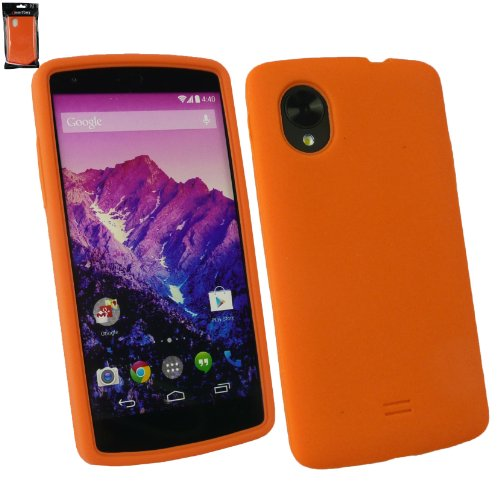 Emartbuy® LG Google Nexus 5 Silicon Skin Cover Case Orange  available at amazon for Rs.149