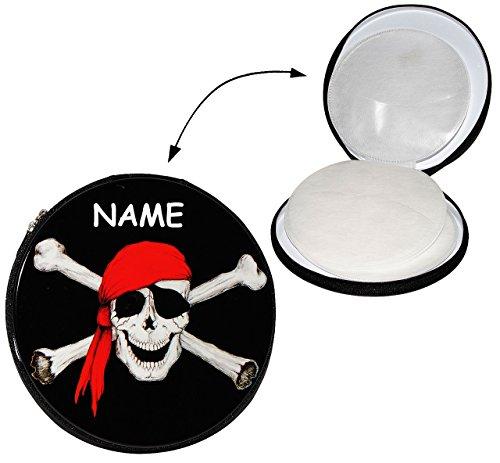 Metallbox Piraten - für 12 - CD - incl. Name / Tasche - Totenkopf / Schatzsuche -Schatzsucher CDs - Pirat - Aufbewahrung für Kinder Wallet Hülle Box CDTasche CDHülle (Knochen Wallet)