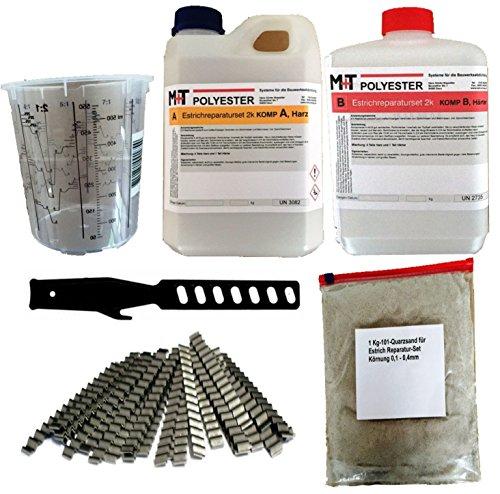 1,2 kg Gießharz Beton-Fugenharz Estrich Risse Mischbecher+20 Klammern+1 kg Sand+Rührstab