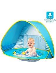 Aesy Tienda Playa Bebe, Automático Sun Shelter Playa Sun Shade Canopy Cabana Cámping Tiendas, para Infantil Niños Protección Solar Anti UV 50+ con Piscina Ajuste 2-3 Personas (Azul)