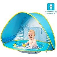 Aesy Tienda Playa Bebe, Automático Pop Up Sun Shelter Playa Sun Shade Canopy Cabana Cámping Tiendas, para Infantil Niños Protección Solar Anti UV 50+ con Piscina Ajuste 2-3 Personas (Azul)
