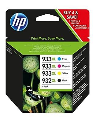 HP 932XL Black/933XL Cyan/Magenta/Yellow 4-pack Original Ink Cartridges (C2P42AE)