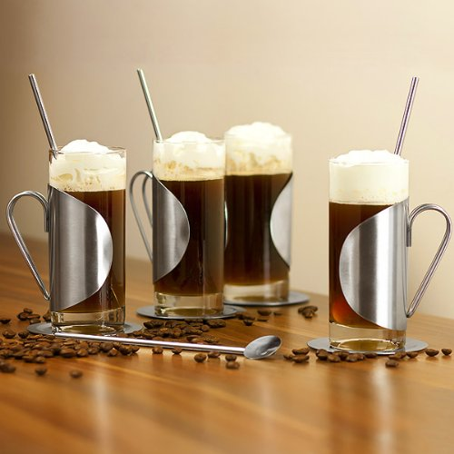 Kompletter Irish Coffee-Glas-Geschenkset mit einem Set von 4 Gläsern, Untersetzern & Rührstäben | bar@drinkstuff Irish Coffee-Gläser 10 Unzen/280ml | Irish Coffee-Set aus Edelstahl, Irish Coffee-Tassen Gläser Irish Coffee