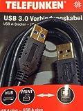 Verlängerung USB 3.0 Verbindungskabel 1,5m Typ-A >Typ-A Datenkabel 5GBit/s gold von Telefunken