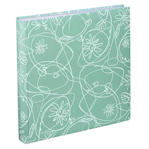 Hama Fotoalbum Decori II, Jumbo Album mit 100 weißen Seiten, für 400 Fotos im Format 10x15, Blumen-Ranken-Muster, 30x30, XXL Fotobuch mint-grün