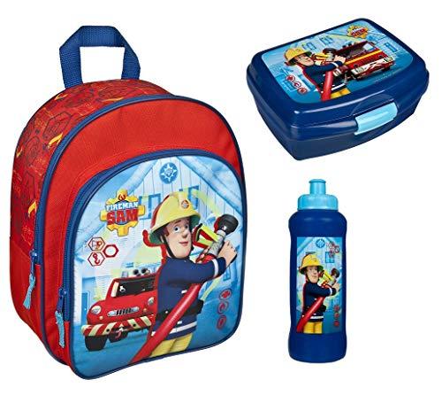 Feuerwehrmann Sam Kindergarten-Rucksack Set 3tlg. mit Brotdose und Trinkflasche Krippe Freizeit Fireman Sam