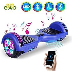 """SISGAD 6.5""""Fashional Hoverboard-Two Wheels Scooter de Equilibrio automático para niños Adultos con Luces LED y Altavoz Bluetooth (Azul)"""