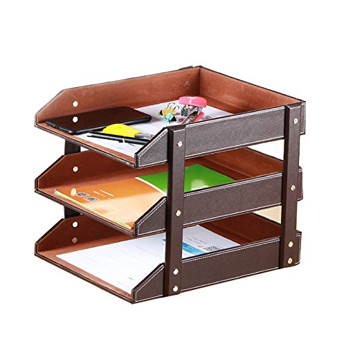 ZAIYI Bücherregal Leder Bürobedarf Tischfeilenhalter Multifunktionale Datendatei Halter Dokumentenablage Lagerregal,Brown Brown-leder-bücherregal