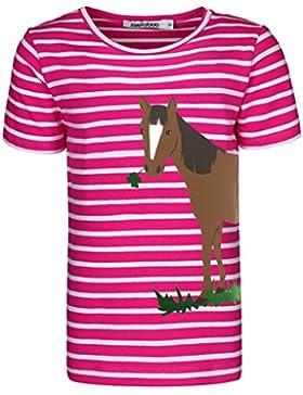 zoolaboo Shirt Mädchen Pferd mit Klee, Gestreift