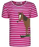 zoolaboo T-Shirt Mädchen Pferd mit Klee, Gestreift in Pink/Weiß, Größe 128