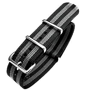 MiLTAT G10 Nato James Bond Uhrenarmband, 20mm, Nylon, polierte Schließe, Schwarz/Grau