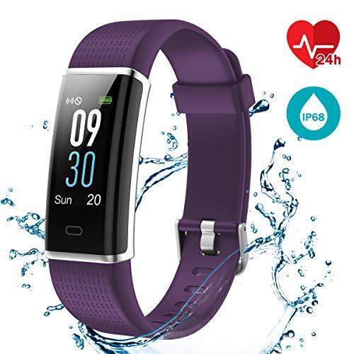 LATEC Fitness Tracker Uhr mit Pulsmesser, Smart Armbanduhr Wasserdicht IP68