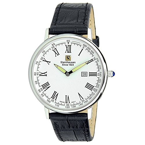 "Steinhausen Classic Men's S0122 ""Altdorf"" Swiss Quartz Stainless Steel Black Leather Band Watch"