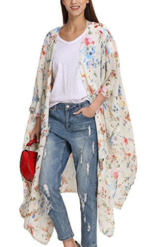 Hibluco Damen Florale Kimono Cardigan Strand Chiffon Bluse Tops Bikini Cover Up (XXXXX-Large, K94)