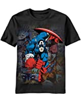 Mens Captain America Wing Head T Shirt Black