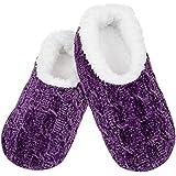 Snoozies - Pantofole in ciniglia a treccia, con suola morbida