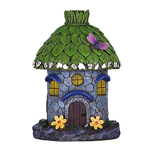 (Hanna's Cottage 20cm Fairy Haus Garden House LED Solar Gartendeko für Außen Fairy Garden House aus Kunstharz Solarleuchtung Wasserdicht LED Feengarten Grün Baum Feenhaus (Libelle mit Blumen))