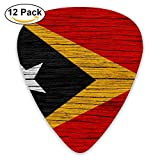 Flag Of East Timor Wooden Texture Guitar Pick 12pack,Standard Bass Guitarist Music Gifts