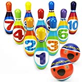 Emob Indoor 12 Bowling Sports Set Learning Toy with Multicolor Bowling Pins and 2 Balls for Kids