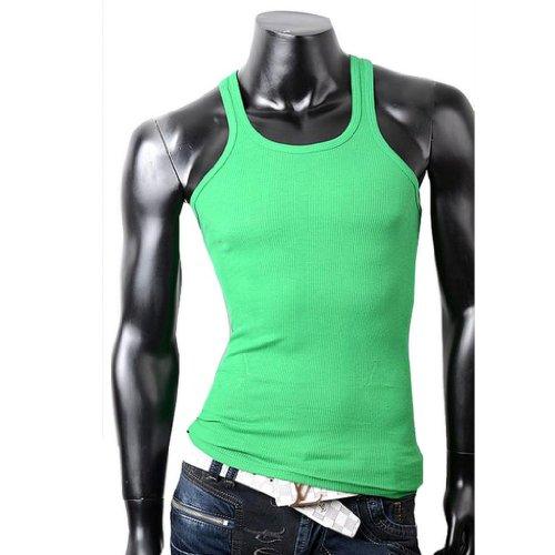 Herren Tanktop Tank top Muskelshirt Fitness T shirt Achselshirt Grün
