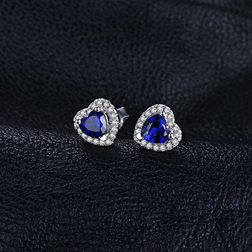 JewelryPalace Runde Herz Des Ozeans 1.2ct Synthetisch Blau Saphir Ohrstecker 925 Sterling Silber ohrring stecker - 3