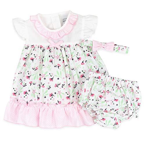 3 Teile Mädchen Set Kleid und Pumphose Streublumen rosa 12-18 Monate (80/86)