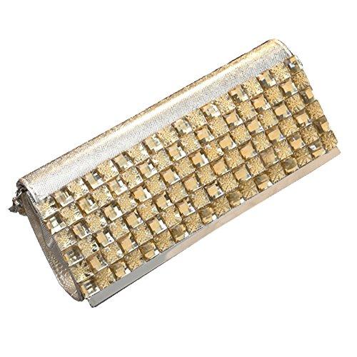 Sallyshiny-Borsa da donna, per abiti da sera o da cerimonia, con sacchetti per feste di matrimonio con borsetta (oro)
