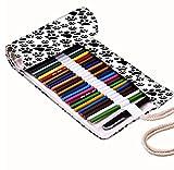 Snoogg Chien timbres Motif toile Wrap support pour rouleau de 36crayon de couleur, Coque pour stylo à encre gel, organiseur de voyage Pochette pour artiste, multi-usages (Crayons non inclus), 36trous...