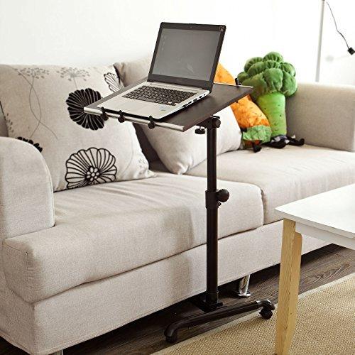 FBT07N-BR Inclinable Overbed Laptop tabla a la asistencia,MESITA AUXILIAR PLEGABLE CON RUEDAS para cama, butaca comer mesa,PC Portable, (marrón)
