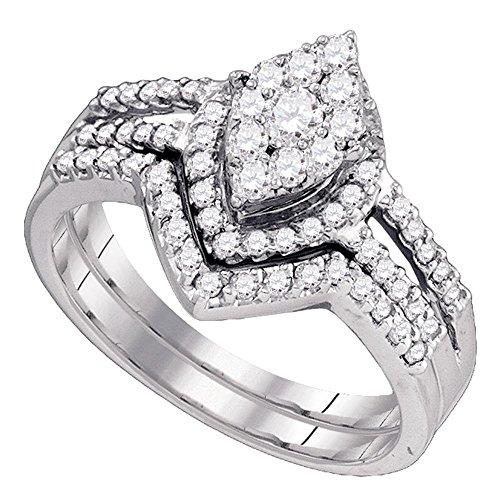 Diamond2Deal Herren Unisex Damen - 10 K 10-Karat-Weißgold Rund Leicht Getöntes Weiß/Crystal (J) Diamant