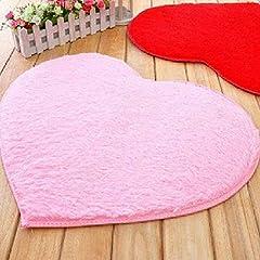 Idea Regalo - Morbido tappetino da bagno, a forma di cuore, tappetino antiscivolo, confortevole, peloso, assorbe acqua, super soffice, tappetino da bagno lavabile, 40x 30cm, rosa, 40cm by 30cm