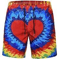 Xdkjan Pantalones Cortos de Playa de Impresión Digital con Forma de Corazón Europa y los Estados Unidos Viento Grande Talla Verano Hombre de Secado Rápido Pantalones Cortos Rectos, Color L, Tamaño A