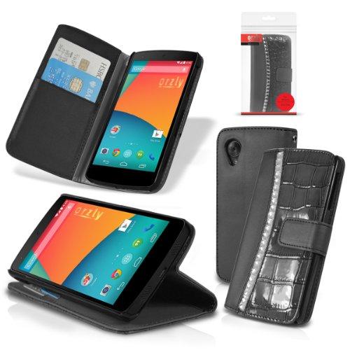 Orzly® - Rocksie Case für NEXUS 5 mit Magnetischen StandbySensoren für Auto Schlaf / Wach - Schutzhülle mit integrierte Brieftaschehülle für Damen in SCHWARZ mit Juwelenbesetzte Abdeckung und Krokodil Haut Muster - Phone Cover / Hülle / Fall mit integrierte Brieftasche & Bult-in Stand - Entwurf exklusiv für LG / GOOGLE NEXUS 5 - 2013 Modell SmartPhone (Faux Schwarz Krokodil-haut)