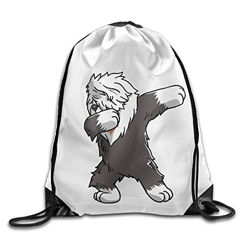 guolinadeou Funny Dabbing Old English Sheepdog Dog Print Drawstring Backpack Rucksack Shoulder Bags Gym Bag Sport Bag