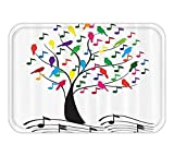 VICKKY Doormat Music Decor Set Tree with Musical NoteAnd BirdBranch Happy Jolly Celebrating Playful Bathroom Accessorie Long 23.6 W X 15.7 W Inches