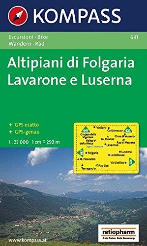 Carta escursionistica n. 631. Trentino, Veneto. Altipiani di Folgaria, Lavarone e Luserna 1:25.000. Adatto a GPS. Digital map. DVD-ROM